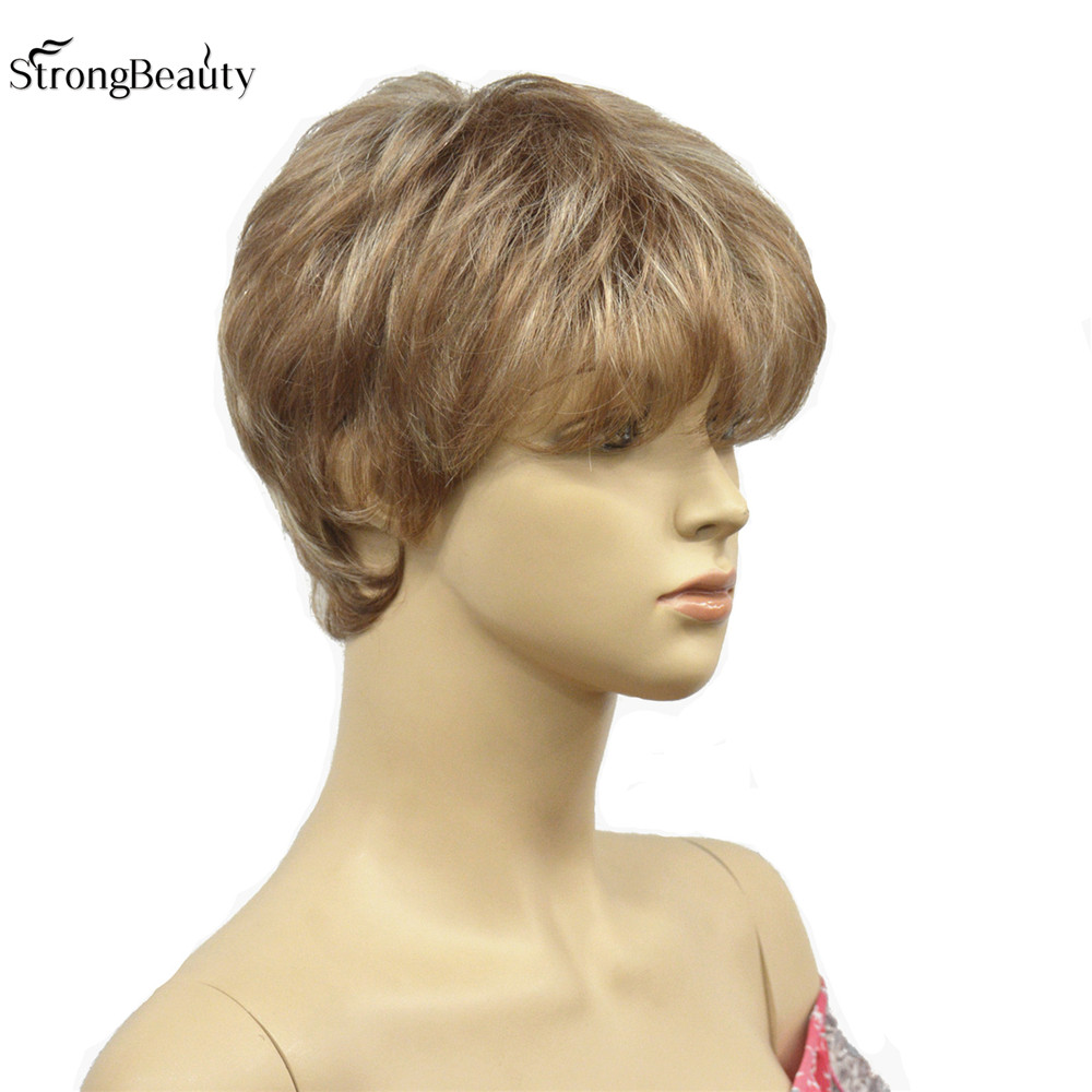 New Light Brown With Blonde Mix Short Straight Womens Synthetic Wig Natural Wigs<br><br>Aliexpress