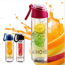 AIHOME 800ml Cycling Sport Fruit Infusing Infuser Water Lemon Bottles Juice Bicycle Health Eco-Friendly BPA Detox Flip Lid(China)