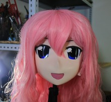 New Arrival Silicone Full Head Kigurumi Masks Cosplay Lovely Pink Curly Hair Crossdresser Kigurumi Mask with Wig(China)