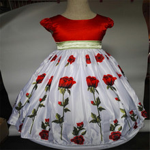 Europe Beautiful Summer Dress Brand New High Quality Girls Short Sleeve Big Rose Princess Dress Kids Costume Performance Clothes