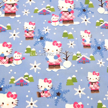 hk132 - 1 Yard Cotton Polyester Fabric - Sanrio Cartoon Characters, Hello Kitty and Snowman (W140)