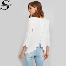 Buy Sheinside White Scallop Edge Buttoned Overlap Plain Women Blouses Round Neck 3/4 Sleeve Elegant Top 2017 Ladies Autumn Blouse for $10.98 in AliExpress store
