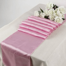 "Light pink Sheer Satin Table Runners 12"" x 108"" Wedding Party Table Cloth Popular Christmas Supplies"