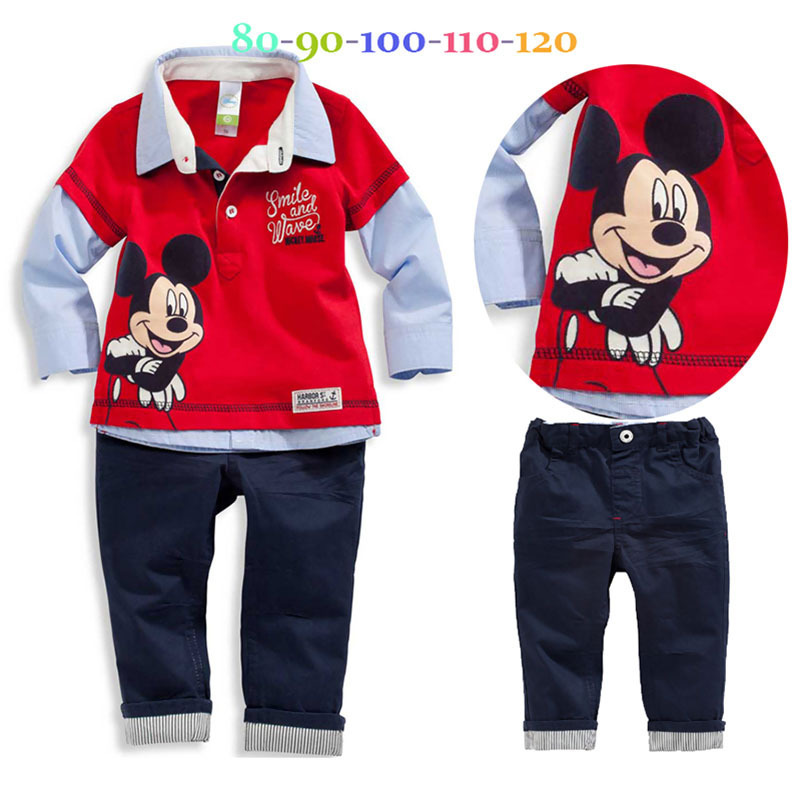 new Childrens Mickey casual set shirts and pants Fashion baby Cartoon clothing Suits Mouse clothes  Children Clothing Set<br><br>Aliexpress