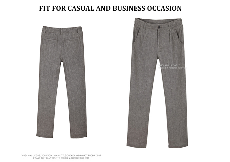 Markless Thin Linen Men Pants Male Commercial Loose Casual Business Trousers Men's Clothing Straight Fluid Man Pants 9