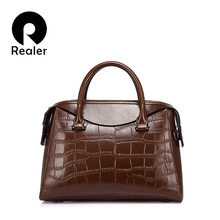 REALER brand women handbag female shoulder bags high quality split leather tote bag with crocodile pattern ladies messenger bags(China)