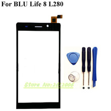 Replacement Touch Screen Digitizer For BLU Life 8 L280 L280i Cell Phone White Color Touch Glass+tools