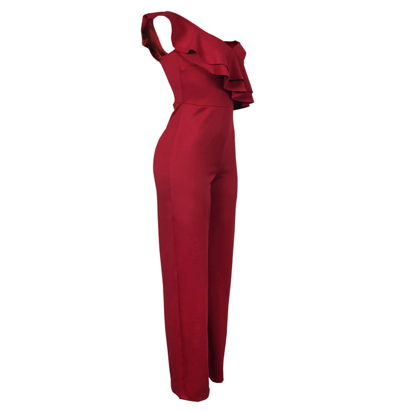 sexy red one shoulder ruffles long jumpsuit-5