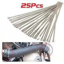 free shipping 25Pcs Stainless Steel Zip Ties Straps Fits Motor Motorcycle Exhaust Header Wrap(China)