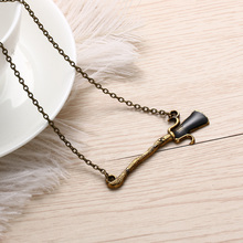 1Pcs Retro Fashion Broom Pendant Necklace Alloy Chain Long Necklace Unisex Jewelry Harry Potter  Hallows Magic Broom Neckalce