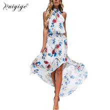 Buy Ruiyige Halter Sexy High Split Long Dress Floral Print Sleeveless Tunic Beach Dress Women Sundress 2018 Summer Vestidos Female