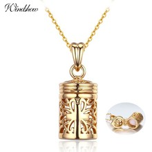 Hollow Out Filligree Cross perfume Bottle Essential Oil Diffuser Necklace Women Pingente Necklaces & Pendants Gold Color Jewelry(China)