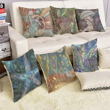 Modern Aquatics Lives Decorative Cushion Covers Watercolor Painting Jellyfish Seastar Seabirds Sofa Throw Pillow case covers