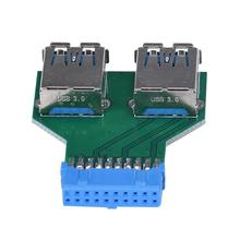 MOSUNX Futural Digital  Motherboard 19Pin Header To 2 Ports USB 3.0 A Female HUB Adapter Connector Drop Shipping F35