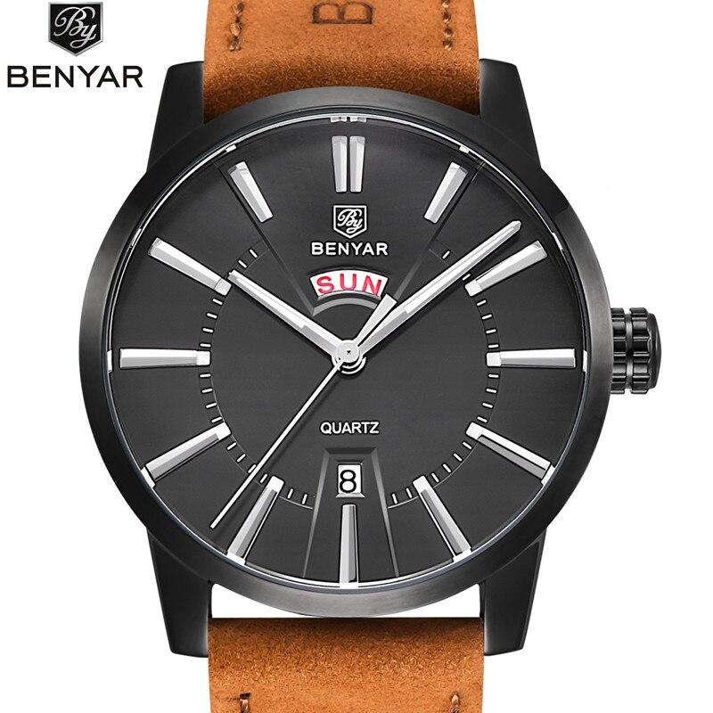 2017 NEW Luxury Brand BENYAR Men Sport Watches Mens Quartz Clock Man Army Military Leather Blue Wrist Watch Relogio Masculino<br>