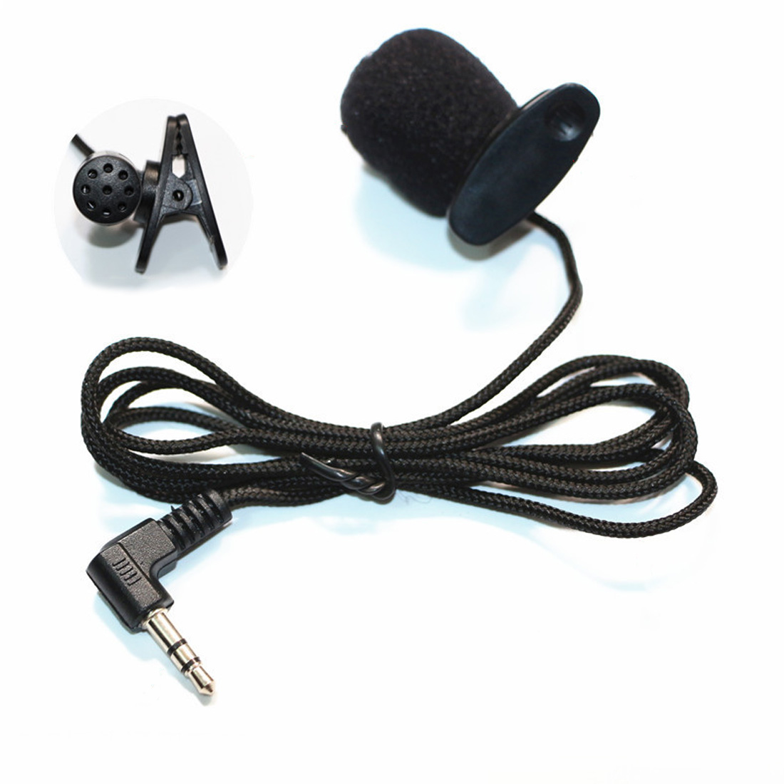 1.18m Mini Clip-on Lapel Microphone Hands-free 3.5mm Condenser Wired Microphone