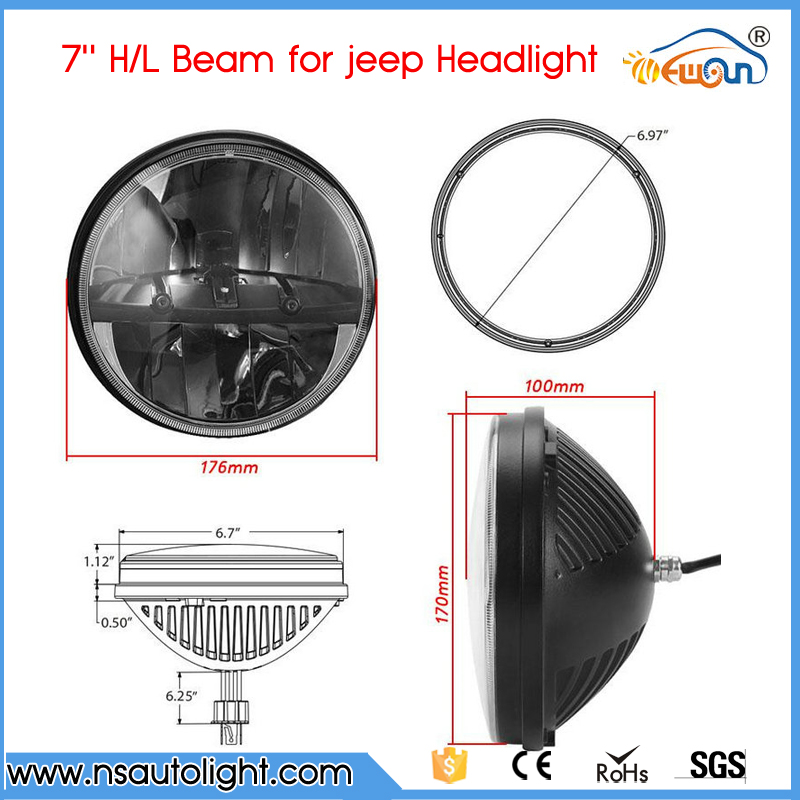 40W/Pair  7 Inch LED Headlight For Jeep Wrangler JK TJ LJ CJ For Hummer H1 H2 Round LED Driving Head Lamp High-Low Beam<br><br>Aliexpress