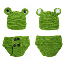Cute Frog Newborn Crochet Outfits Warm Set Cap Boy Cap Girl Hat Baby Cap Baby Hat + Pants For Infant Newborn Photography Prop(China)