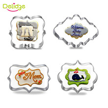 Delidge 4pcs/set  Blessing Wedding Frame Stainless Steel Cookie Cutters 3D Biscuit Sugarcraft  Kitchen Mould Baking Pastry Tools