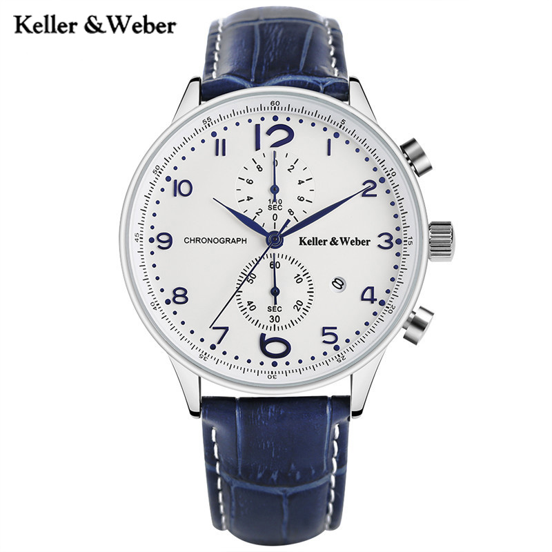 Keller &amp; Weber Fashion Brand KW Watches White Blue Quartz Wristwatch Chronograph Date Display Genuine Leather Band Montre Homme<br>