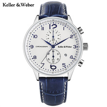 Keller & Weber Fashion Brand KW Watches White Blue Quartz Wristwatch Chronograph Date Display Genuine Leather Band Montre Homme(China)