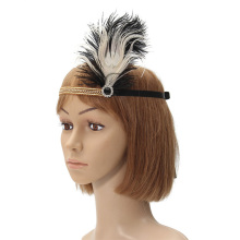 Black White Feather Crystal Rhinestone Hairband 1920's Gatsby Flapper Headband Headpiece Gift