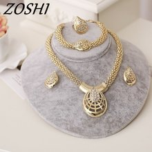 ZOSHI Women Italy Dubai Crystal Necklace Earrings Gold Color Jewelry Sets Wedding Party Bridal Accessories Costume jewelry(China)