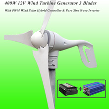 2017 Hot Selling 3 Blades 400W 12V Wind Turbine Generator With Best Wind Solar Hybrid Controller & 1KW Pure Sine Wave Inverter(China)