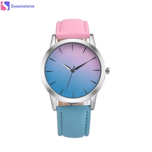 Montre Watch Women Fashion Dial Retro Rainbow Design Leather Band Analog Alloy Quartz Wrist Watch Clock Relogio Feminino 2017(China)