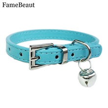 FameBeaut Hot Cute Bell Leather Dog Collar Designer Small Dog Cat Training Collars Harnesses Pet Leash XXS/XS 5 Colors