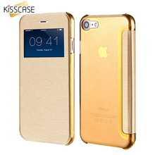 KISSCASE Open Window View Display Flip Leather Case For iPhone 6 7 6S Plus Coque Clear Back Full Protective Case For iPhone 7 6(China)