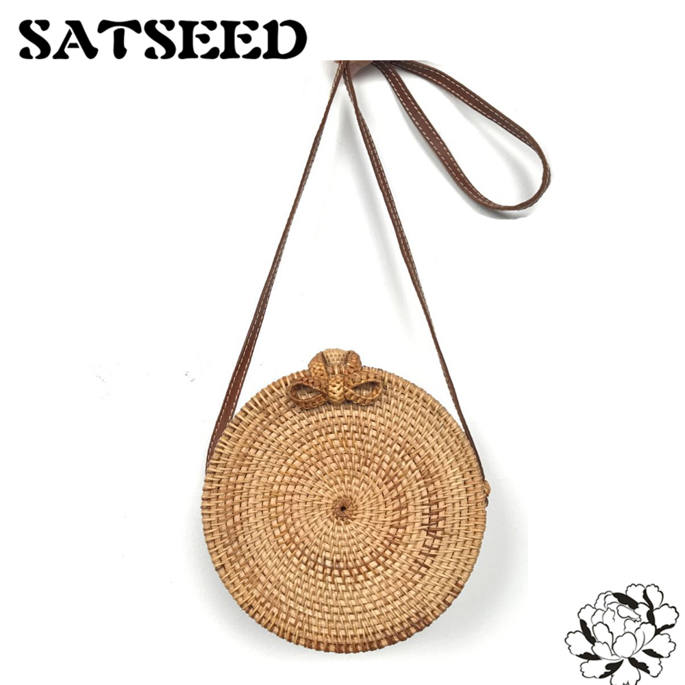 Vietnam Hand Woven Bag Round Rattan Straw Bags Bohemia Style Beach Circle Bag INS Popular<br>