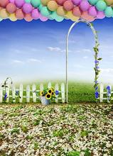 Backgrounds Pasture Fence Arches Blue Sky Morning Glory Sunflower Colored Balloo Photography Backdrops Photo Lk 1003