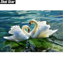 3d diy full diamond painting embroidery kits crystal rhinestone picture diamond mosaic swan love gift craft AA804 ZS(China)