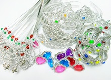 50X PRINCESS SET - TIARA WAND RING dress up costume head kids pretend Girl Toys Gift Birthday Party Favors Pinata Bag Filler