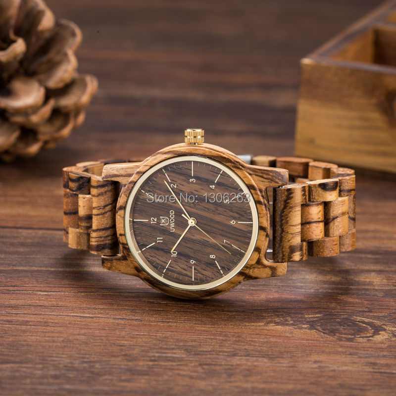 Brand new analog quartz men women wood watch slim des *