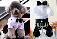 HOT Clothing For Dogs Puppy Pet Corduroy Dog Clothes Western Style Male Wedding Dog Suit With Tie White Puppy Apparel XS-XXL