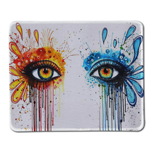 Customized Cool Watercolor Painting of Beautiful Eyes Art Mousepad Non-Slip Rubber Locking Edge Gaming Mouse Pad As Gifts(China)