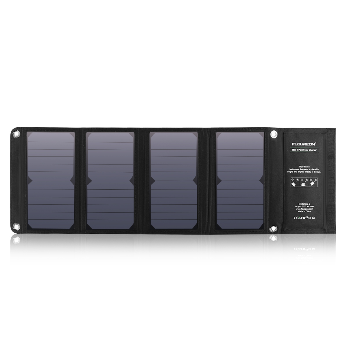 FLOUREON 28W Foldable Waterproof Solar Panel Charger Mobile Power Bank for Smartphones Tablets Triple USB Ports Outdoor 18