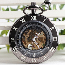 2017 New Non-covered Glass Hollow Retro Mechanical Hand Wind Pocket Watch Roman Numerals Men Black Tungsten Steel Table 3JX060