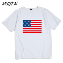 MULYEN Flags Designer Print On T Shirt Men Summer  t-shirt Short Sleeve United States Russia Brazil Flags Tshirt Hip Hop Tee