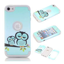 For Coque iPod Touch 6 Case Cover Cute Owl Pattern Armor Combo Hybird 3 in 1 PC+Silicone Skin Cover Cases for iPhone 5 5S 5C(China)