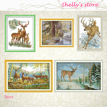 Needlework,DIY DMC Cross stitch,Sets For Embroidery kits,The deer in the forest, Stag, Run deer Counted or Stamped Cross-Stitch