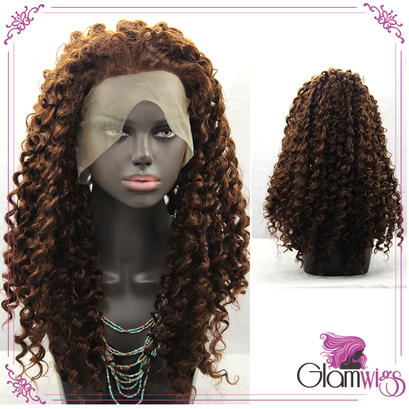 Kinky Curly Dark Brown Glueless Lace Front Wigs with Baby Hair Afro Women Synthetic Lace Front Wigs<br><br>Aliexpress