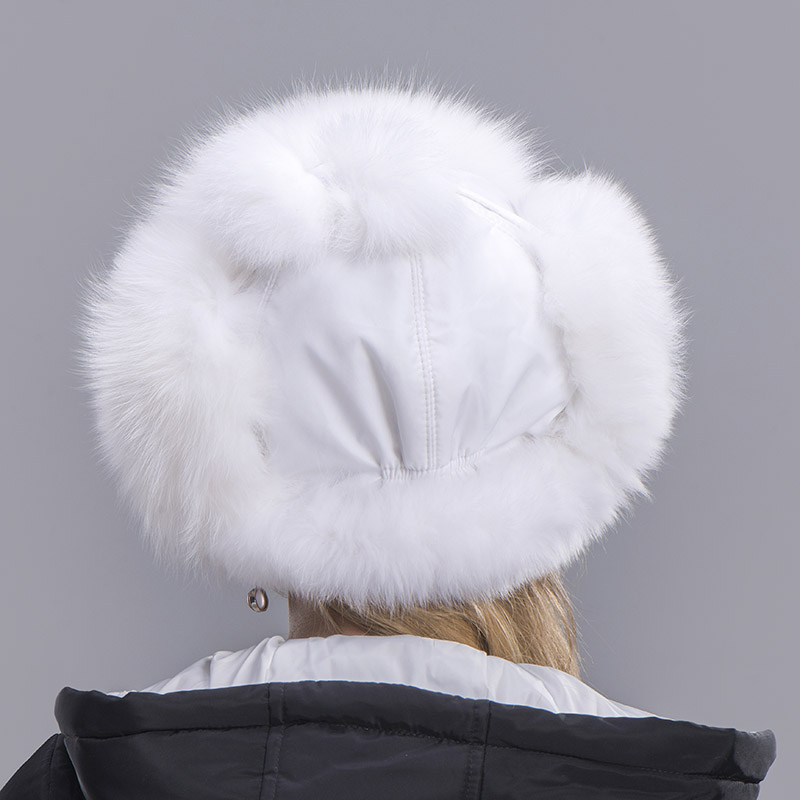 fox fur hat woman white 6