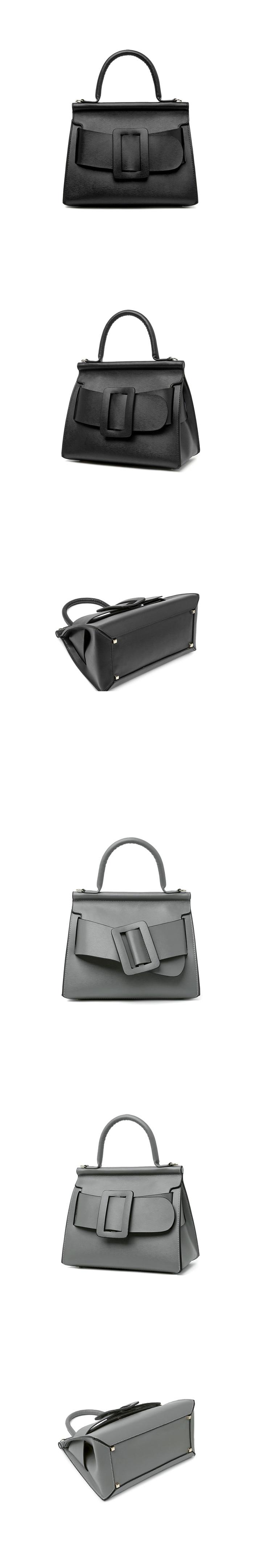 Famous Brand Designer Handbag Genuine Leather Women Vintage Bark Grain Big Buckle Handle bags with strap belt Boyy (12)_