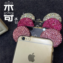 New Fashion Diamond 3D Mickey mouse ears silicon frame bumper for iPhone 6 6s soft lovely cartoon phone cases cover 223