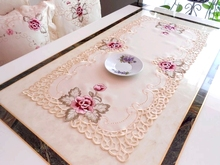 HBZ7 flower palace tablecloth table runner cover cloth Lace dining Embroidery pastoral pink beautiful floral fabric rectangle