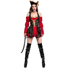 Sexy Women Pirate Costume Halloween Red Sexy Matador Pirate Captain Cosplay Costume Halloween Party Carnival Disfraces Uniform(China)