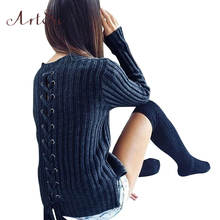 ArtSu Apparel Fashion Winter Knitting Pullover Sweater Women Jumper Autumn Oversizes Tops Back Lace Up Slim Sweaters ASSW50004(China)